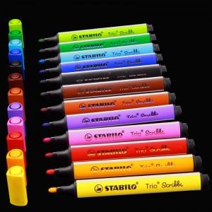 Stabilo Fasermaler Trio Scribbi, Tischset dreikant 1,5 - 2,0 mm  farbig sortiert